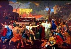 La Adoración del Becerro de Oro por Nicolas Poussin